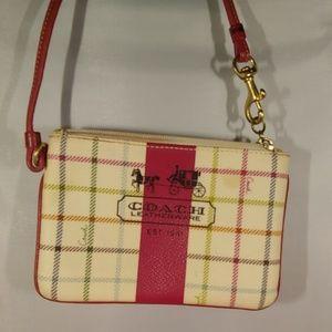 Coach heritage stripe tattersall wristlet wallet
